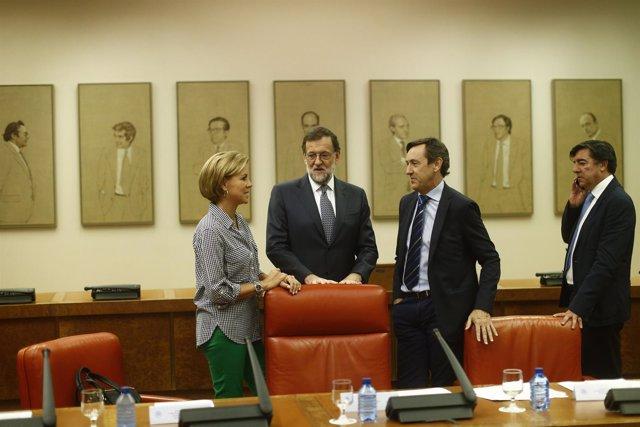 Rajoy, Cospedal y Rafael Hernando en el Congreso