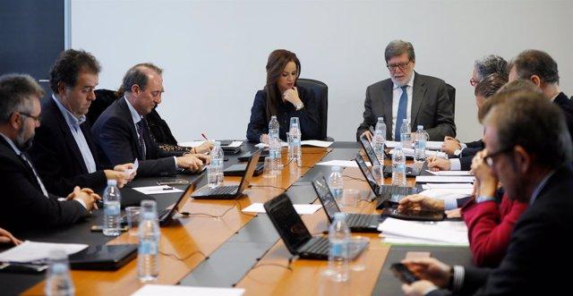 Silvia Clemente, con Santiago Aparicio en la reunión con Cecale