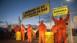 Activistas de Greenpeace se concentran para paralizar las obras de Gas Natural en Doñana