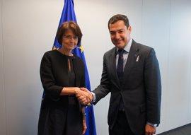 Moreno pide a Bruselas que levante el bloqueo a 468 millones de fondos para Andalucía