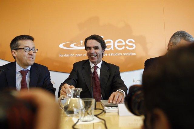José María Aznar en un acto de la Fundación FAES