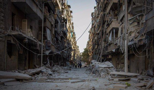 Zonas rebeldes de Alepo destruidas por los ataques