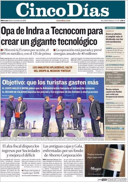 Las portadas de los periódicos económicos de hoy, miércoles 30 de noviembre