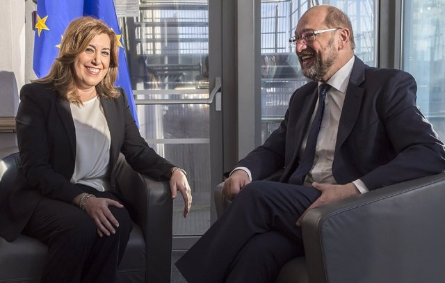 Susana Díaz con el presidente del Parlamento Europeo, Martin Schulz