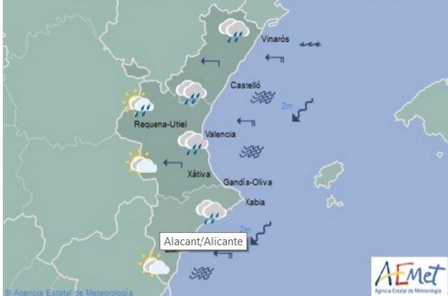 Predicción de lluvias en la Comunitat para este miércoles