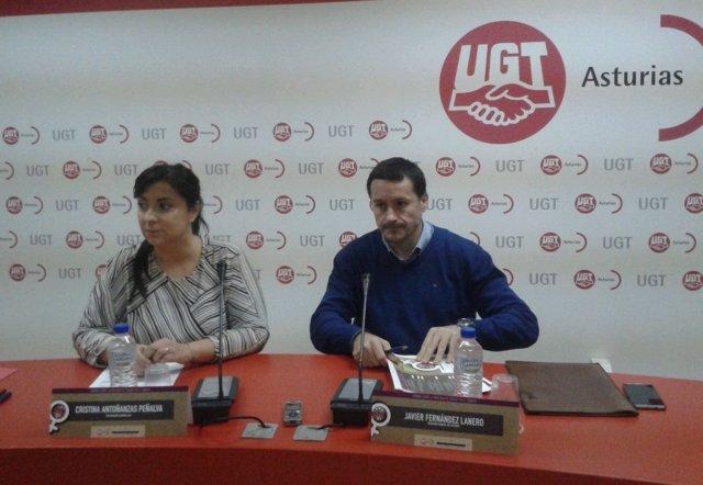 Cristina Antoñanzas y Javier Fernández Lanero de UGT.