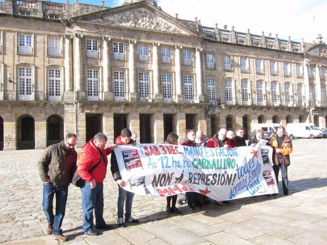 Presentación de la manifestación en apoyo a Emilio Cao (tercero por la izq.)