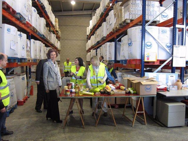 La Reina Sofía junto a voluntarios en el Banco de Alimentos de Zaragoza