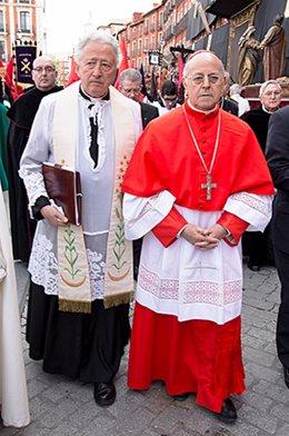 Antonio Pelayo, junto al cardenal arzobispo de Valladolid, Ricardo Blázquez.