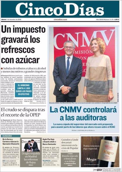 Las portadas de los periódicos económicos de hoy, jueves 1 de diciembre