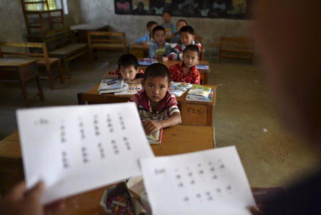 Estudiantes en la provincia de Anhui, China