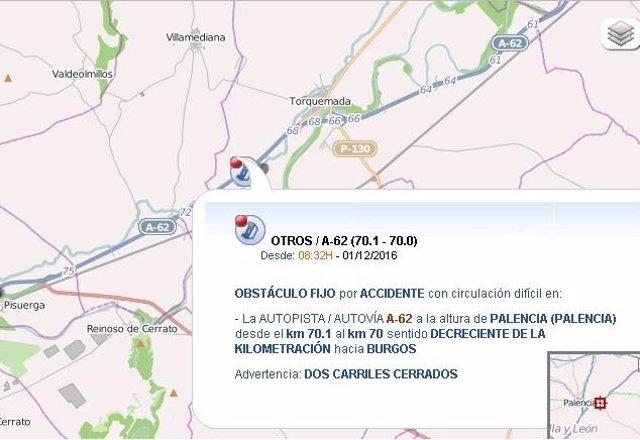 Imagen del mapa sobre el corte de tráfico en la A-62