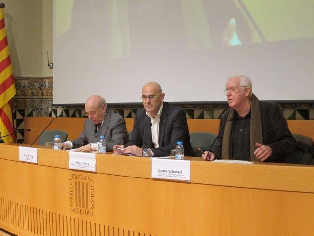 Jaume de Puig (IEC) Conseller R.Romeva, Jaume Sobrequés (CHCC)