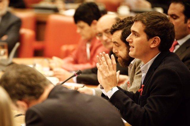 El presidente de Ciudadanos, Albert Rivera, en comisión del Congreso