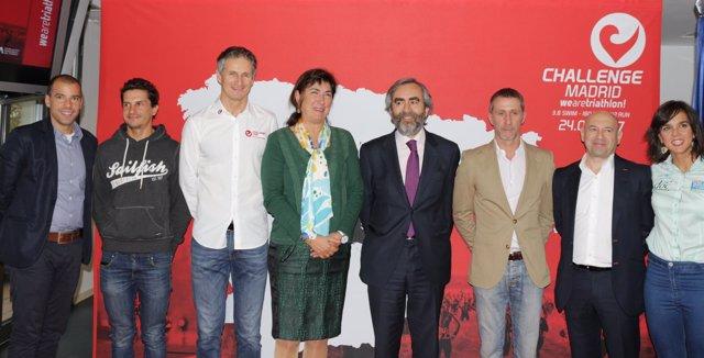 Raña, Casado, Salazar y Pujol, en la presentación de la Challenge Madrid
