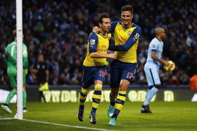 Santi Cazorla celebra un gol ante el Manchester City