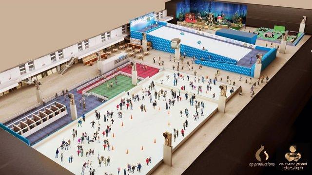 Imagen virtual de la pista y del tobogán de hielo que se instalarán en La Farga