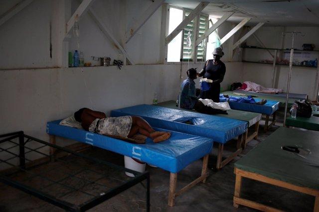 Un hospital con pacientes de cólera en Haití