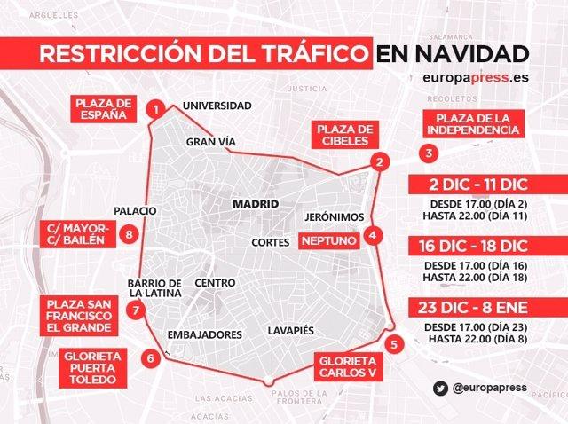 Infografía Cortes De Tráfico Navidades