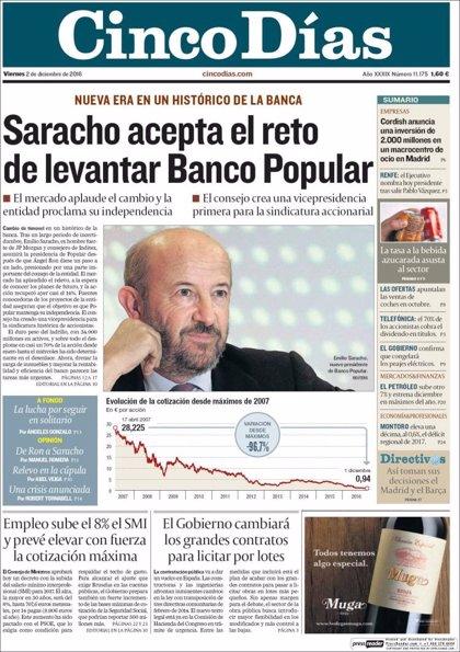 Las portadas de los periódicos económicos de hoy, viernes 2 de diciembre