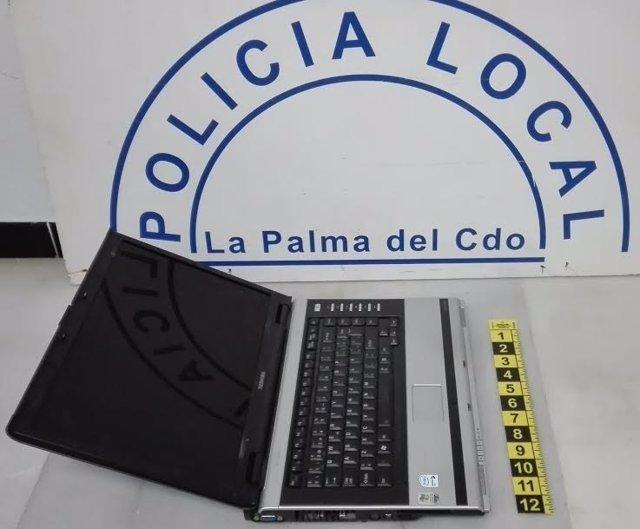 Ordenador recuperado en La Palma del Condado tras ser robado en Espartinas.