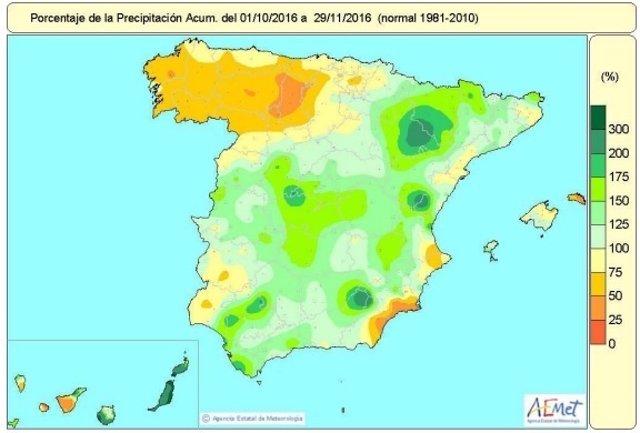 Distribución de las lluvias acumuladas en España hasta el 29 de noviembre