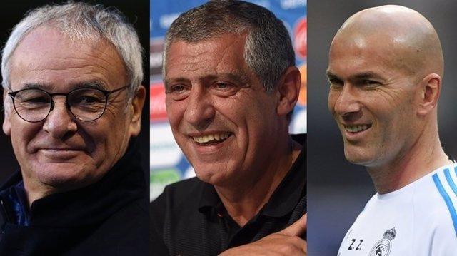 Claudio Ranieri, Fernando Santos y Zinedine Zidane