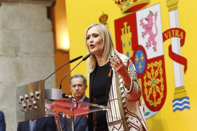 Cristina Cifuentes en la recepción con motivo del Día de la Constitución
