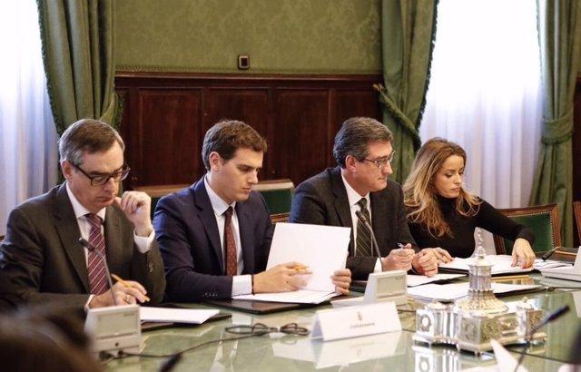 José Manuel Villegas, Albert Rivera, Nacho Prendes y Patricia Reyes
