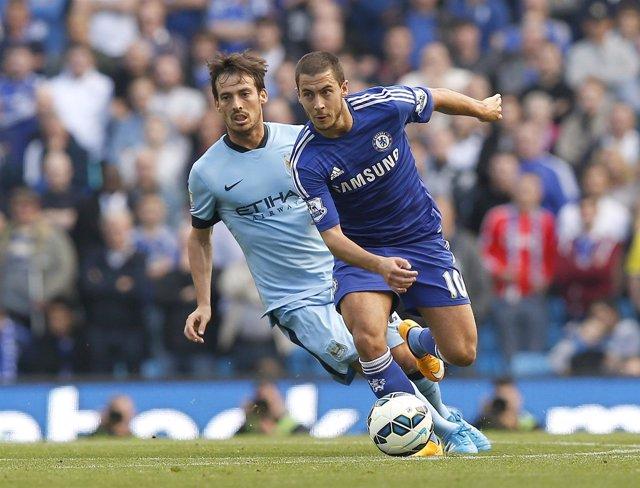 Eden Hazard y David Silva