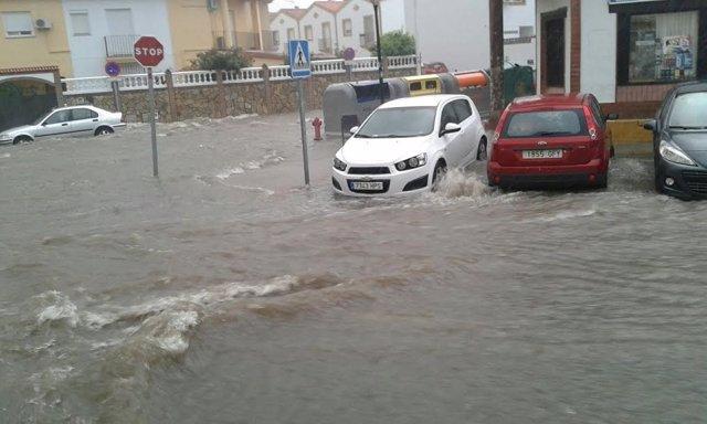 LLuvias de este jueves en Aljaraque (Huelva).
