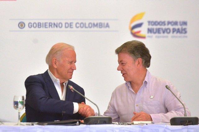 Joe Biden y Juan Manuel Santos
