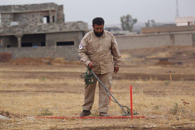 Un hombre desmina un campo cerca de Mosul