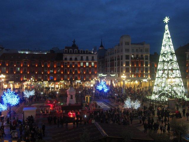 Iluminación navideña de la Plaza Mayor de Valladolid