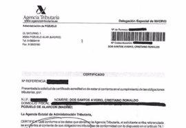 """Un documento de Hacienda dice que Cristiano está """"al corriente de pago"""""""
