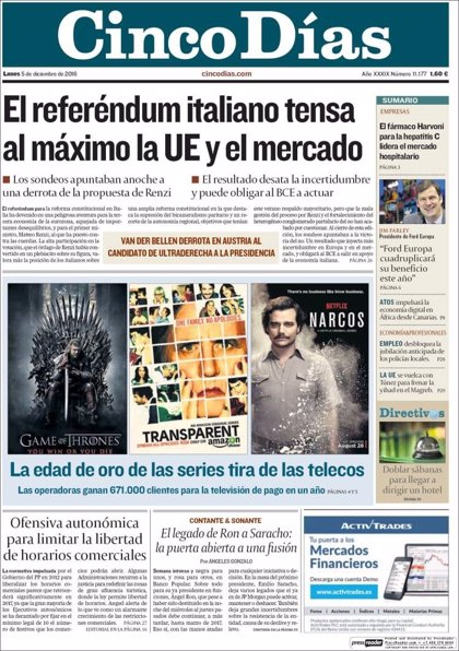 Las portadas de los periódicos económicos de hoy, lunes 5 de diciembre