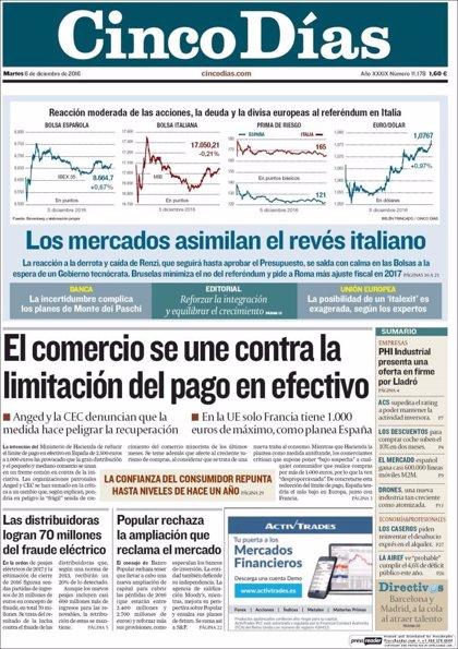 Las portadas de los periódicos económicos de hoy, martes 6 de diciembre