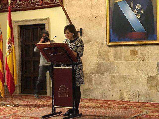 Isabel Bonig durante el acto de la Constitución organizado por Delegación