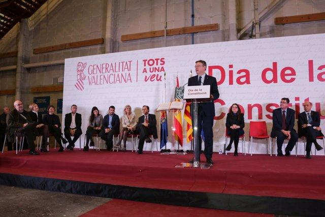 Puig durante el acto de la Constitución organizado por el Consell en Alicante