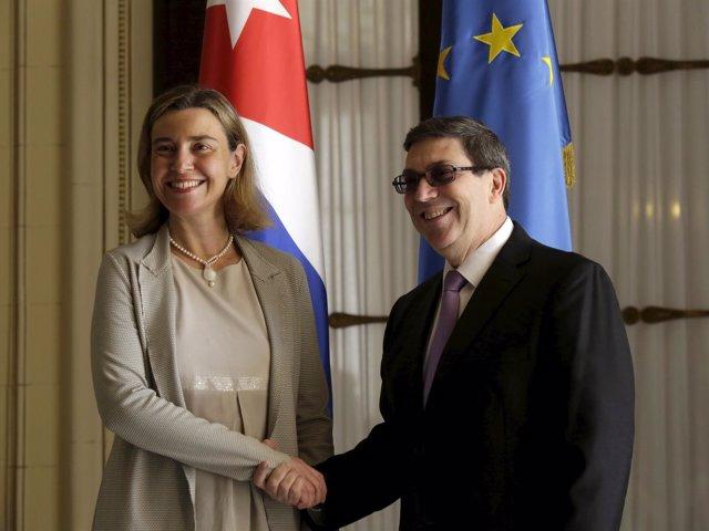 Federica Mogherini y Bruno Rodríguez