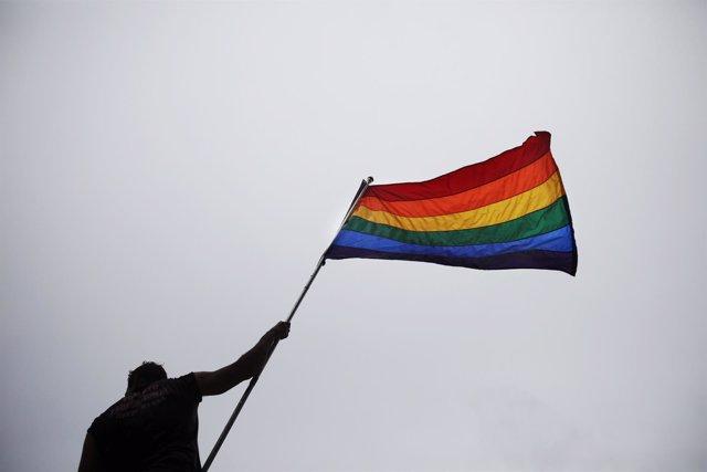 Bandera arcoiris durante una manifestación en Toronto
