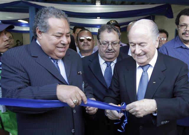 FIFA President Joseph Blatter and Julio Rocha President of the Nicaraguan Federa