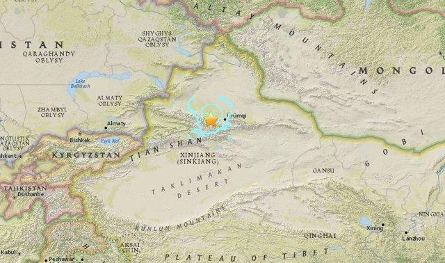 Terremoto en Xinjiang, oeste de CHina