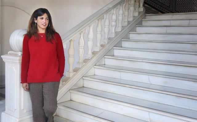 La coordinadora general de Podemos, Teresa Rodríguez, durante la entrevista
