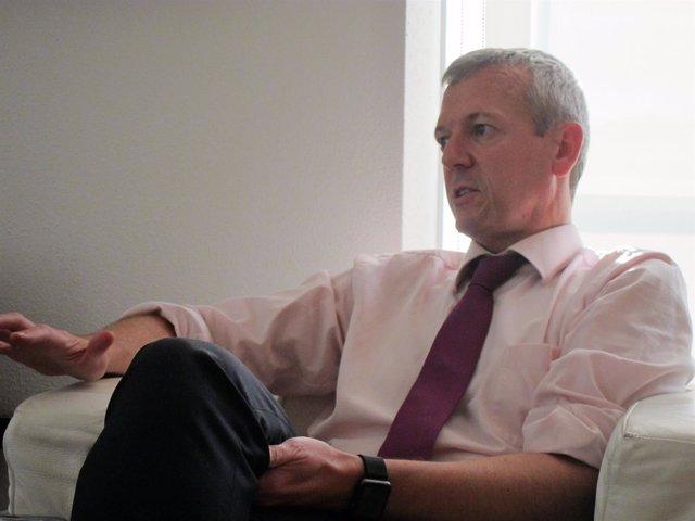 El vicepresidente de la Xunta, Alfonso Rueda, en una entrevista con Europa Press