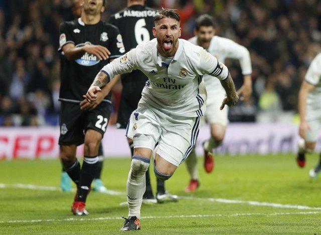 Sergio Ramos celebra el gol de la victoria ante el Deportivo