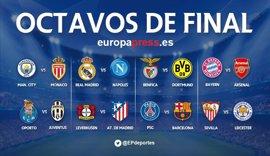 Real Madrid-Nápoles, PSG-Barça, Leverkusen-Atlético y Sevilla-Leicester en octavos