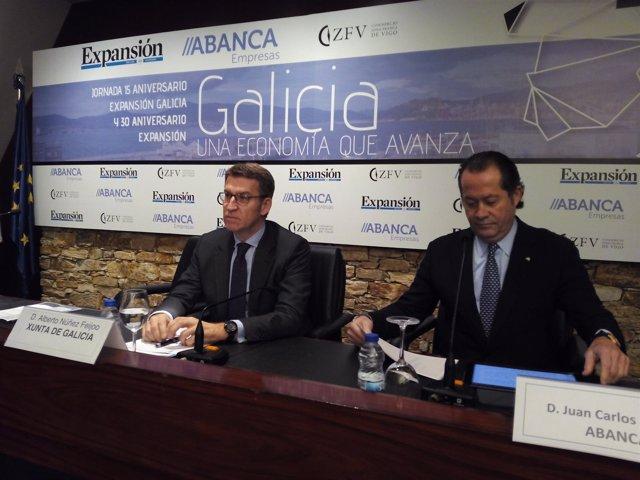 Núñez Feijóo y Escotet en una jornada sobre el crecimiento económico