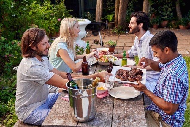 Cena amigos, cerveza, vino, alcohol