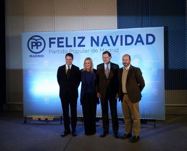 Cifuentes, junto a Rajoy, en la cena de Navidad del PP de Madrid